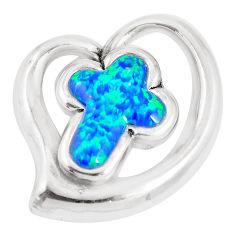 5.30cts blue australian opal (lab) 925 sterling silver holy cross pendant c24299