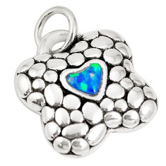 0.77cts blue australian opal (lab) 925 sterling silver pendant a92702 c24335
