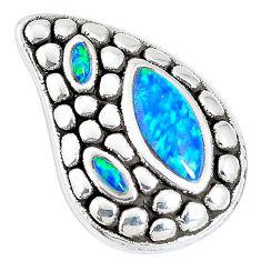2.58cts blue australian opal (lab) 925 sterling silver pendant a92727 c24327