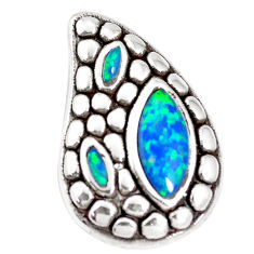 2.58cts blue australian opal (lab) 925 sterling silver pendant a92737 c24325