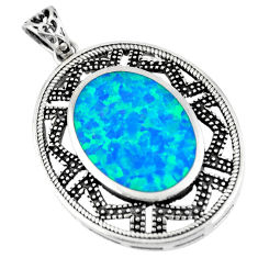 5.12cts blue australian opal (lab) 925 sterling silver pendant a92791 c24395
