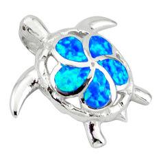 Blue australian opal (lab) 925 sterling silver turtle pendant jewelry c15667