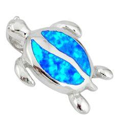 Blue australian opal (lab) 925 sterling silver turtle pendant jewelry c15675