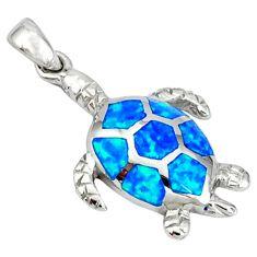 Blue australian opal (lab) 925 sterling silver turtle pendant jewelry c15662