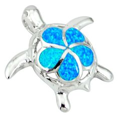 Blue australian opal (lab) 925 sterling silver turtle pendant jewelry c15663