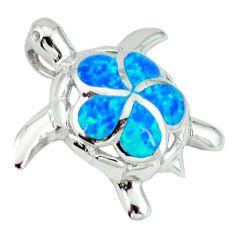 Blue australian opal (lab) 925 sterling silver turtle pendant jewelry c15661