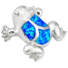 Blue australian opal (lab) 925 sterling silver turtle pendant jewelry c15625