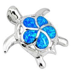 Blue australian opal (lab) 925 sterling silver turtle pendant jewelry c15672