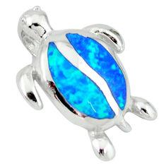 Blue australian opal (lab) 925 sterling silver turtle pendant c15673