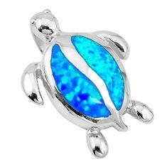 Blue australian opal (lab) 925 sterling silver turtle pendant jewelry c15677