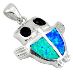 Blue australian opal (lab) black onyx 925 silver owl pendant jewelry c15632