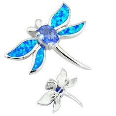 Blue australian opal (lab) dragonfly 925 sterling silver brooch pendant c15706