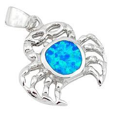 Blue australian opal (lab) enamel 925 silver crab pendant jewelry c15740