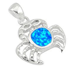 Blue australian opal (lab) enamel 925 silver crab pendant jewelry c25845