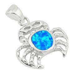 Blue australian opal (lab) enamel 925 silver crab pendant jewelry c25847