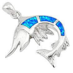 Blue australian opal (lab) enamel 925 silver fish pendant jewelry a74250 c24458