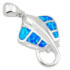 Blue australian opal (lab) enamel 925 silver fish pendant jewelry a74256 c24459