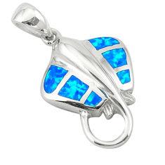 Blue australian opal (lab) enamel 925 silver fish pendant jewelry c25844
