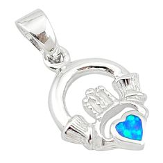 Blue australian opal (lab) enamel 925 silver heart pendant jewelry c25843
