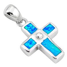 Blue australian opal (lab) enamel 925 silver holy cross pendant jewelry c15650