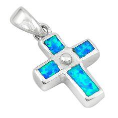 Blue australian opal (lab) enamel 925 silver holy cross pendant c25849