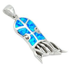 Blue australian opal (lab) enamel 925 silver octopus charm pendant c15583