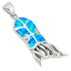 Blue australian opal (lab) enamel 925 silver octopus charm pendant c15712