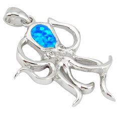 Blue australian opal (lab) enamel 925 sterling silver octopus pendant c15609