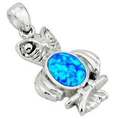 Blue australian opal (lab) enamel 925 silver owl pendant jewelry c15610