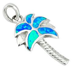 Blue australian opal (lab) enamel 925 silver palm tree pendant c15642