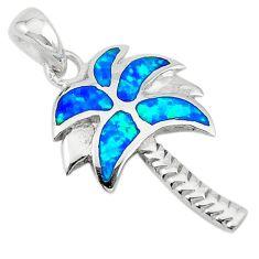 Blue australian opal (lab) enamel 925 silver palm tree pendant a74246 c24450