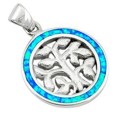 Blue australian opal (lab) enamel 925 silver tree of life pendant a74258 c24447