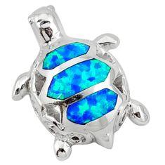 Blue australian opal (lab) enamel 925 silver turtle pendant jewelry c15678