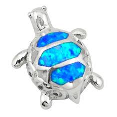 Blue australian opal (lab) enamel 925 silver turtle pendant jewelry c25842