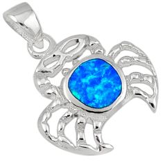 Blue australian opal (lab) enamel 925 sterling silver crab pendant c15722