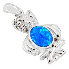 Blue australian opal (lab) enamel 925 sterling silver owl pendant c15603