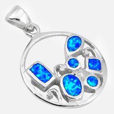 Blue australian opal (lab) enamel 925 sterling silver pendant a52496 c15220