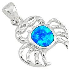Blue australian opal (lab) enamel 925 sterling silver pendant a74222 c24453