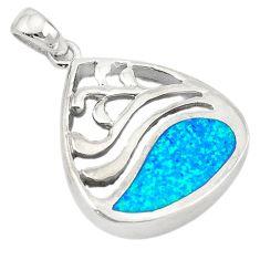 Blue australian opal (lab) enamel 925 sterling silver pendant a74231 c24454