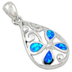 Blue australian opal (lab) enamel 925 sterling silver pendant a74233 c24460