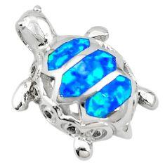 Blue australian opal (lab) enamel 925 sterling silver pendant a74236 c24443
