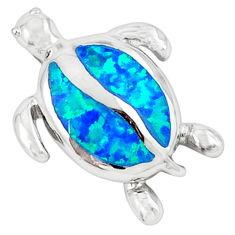 Blue australian opal (lab) enamel 925 silver turtle pendant jewelry c15668
