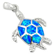 Blue australian opal (lab) enamel silver turtle pendant jewelry a74225 c24455