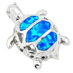 Blue australian opal (lab) enamel silver turtle pendant jewelry a74242 c24451