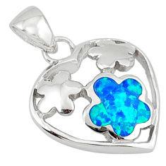Blue australian opal (lab) enamel 925 sterling silver flower pendant c15726
