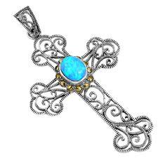 1.65cts blue australian opal (lab) marcasite 925 silver cross pendant c20329