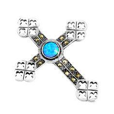 1.14cts blue australian opal (lab) marcasite 925 silver cross pendant c20872