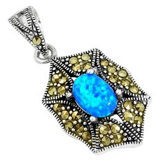 2.12cts blue australian opal (lab) marcasite 925 sterling silver pendant c25841