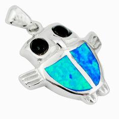 Blue australian opal (lab) onyx 925 sterling silver owl pendant c15631