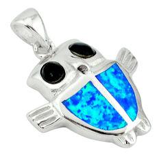 Blue australian opal (lab) onyx 925 sterling silver owl pendant c15633